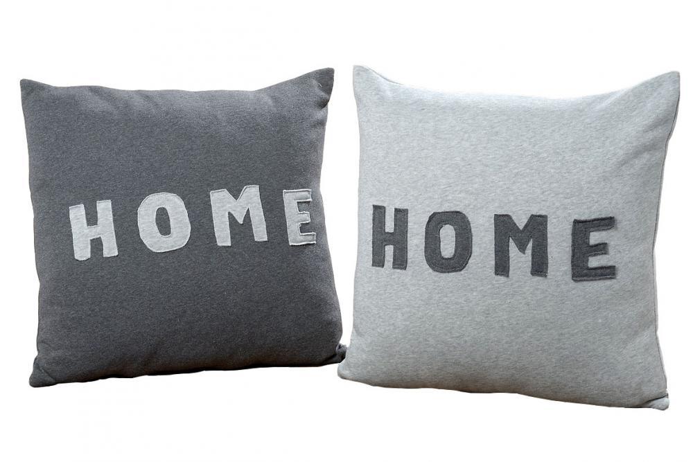 Kissen Set Home Grau Anthrazit 50x50 Polyester Sofakissen Dekokissen
