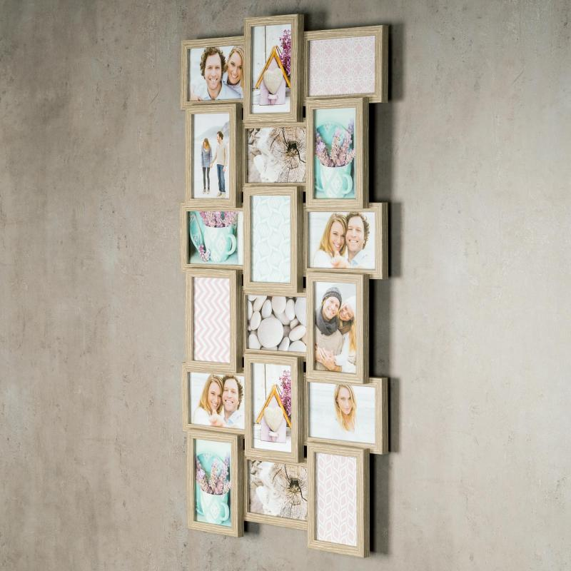 levandeo bilderrahmen collage 44x85cm 18 fotos 10x15 eiche. Black Bedroom Furniture Sets. Home Design Ideas