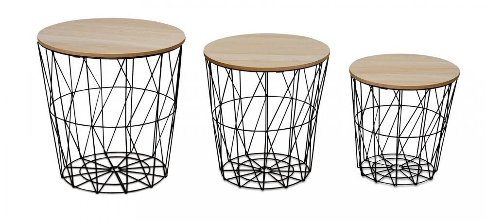 3er set beistelltisch metall metallkorb drahtkorb schwarz. Black Bedroom Furniture Sets. Home Design Ideas