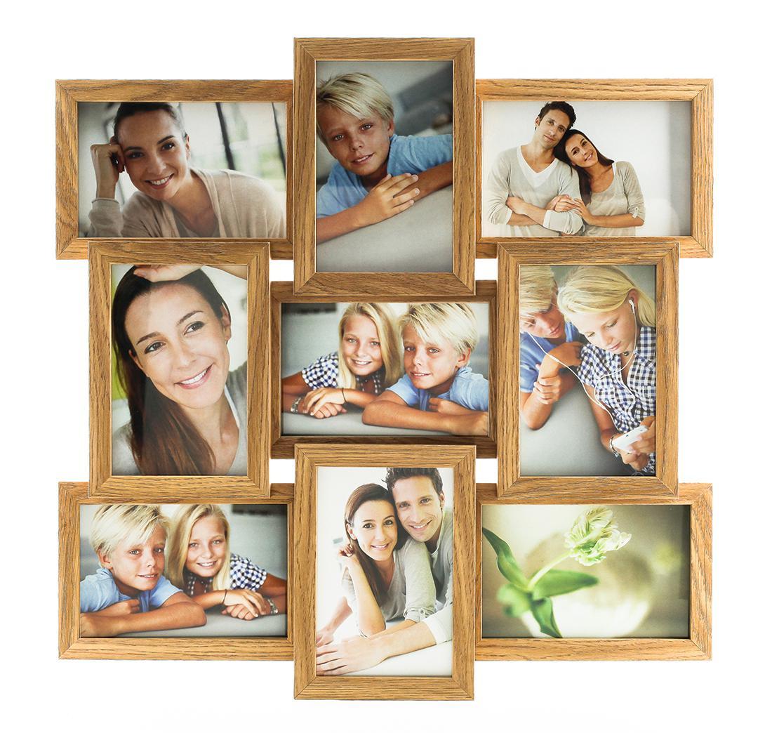 fotogalerie holz in eiche natur 9 fotos glas bilderrahmen collage kaufen bei living by design. Black Bedroom Furniture Sets. Home Design Ideas