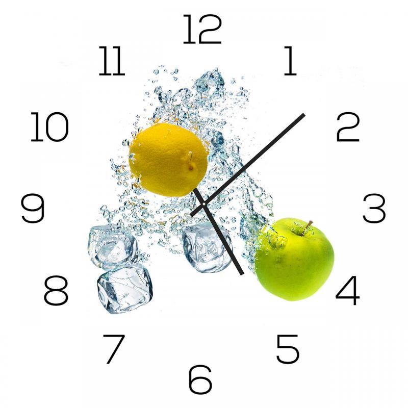 Wanduhr aus Glas 30x30cm Uhr als Glasbild Küche Apfel Zitrone Zitrus
