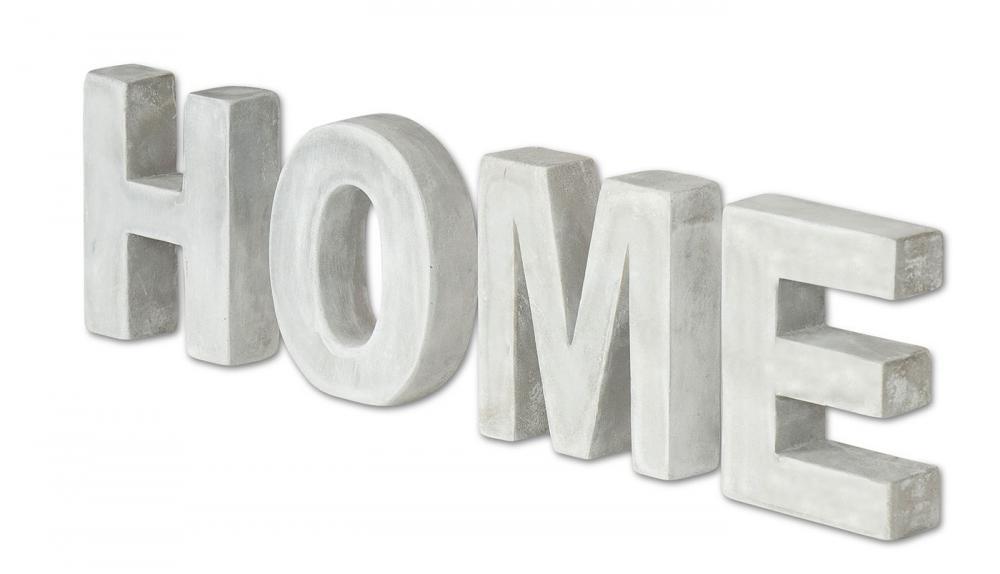 Schriftzug Home Beton 4tlg Grau Zement Tischdeko Buchstaben Je 10cm