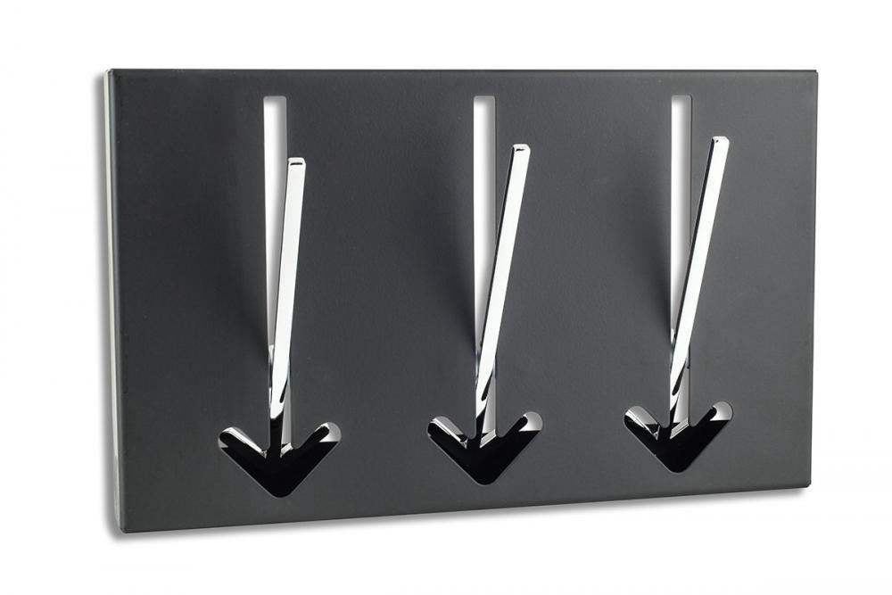 3 wandhaken pfeil wandgarderobe schwarz garderobe metall. Black Bedroom Furniture Sets. Home Design Ideas