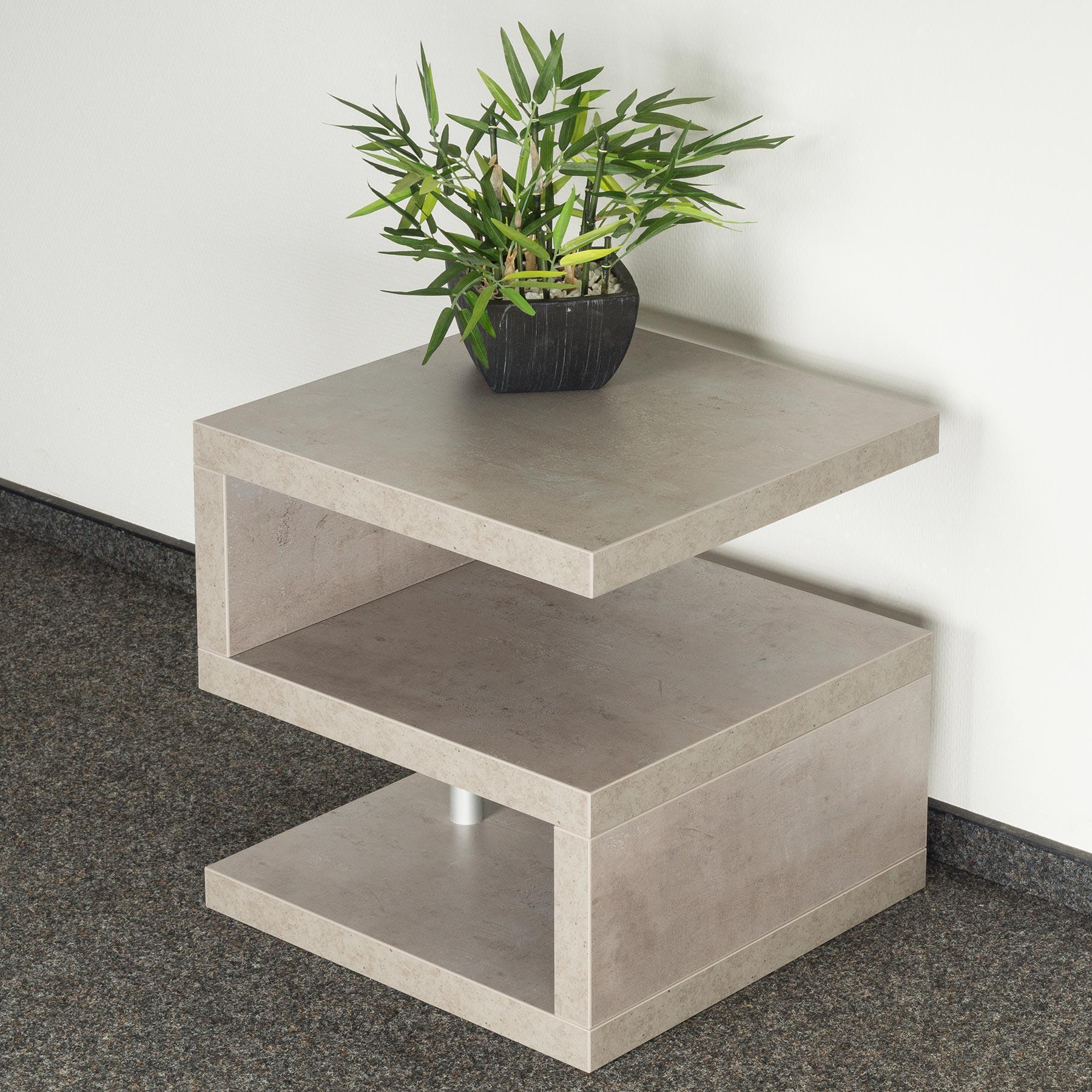 couchtisch sigi 44x44x44cm betonoptik grau beistelltisch ablage tisch kaufen bei living by design. Black Bedroom Furniture Sets. Home Design Ideas