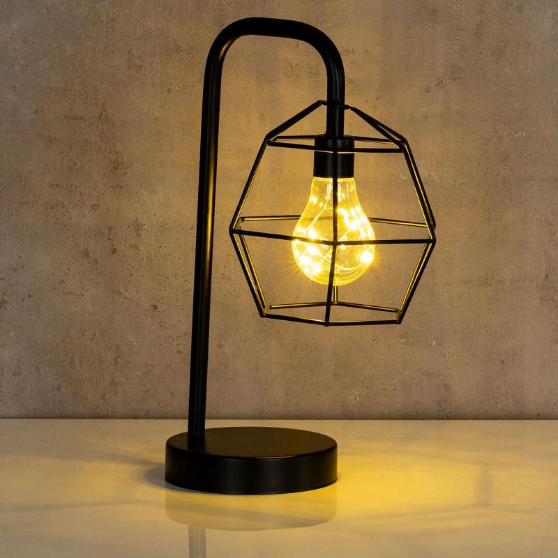 levandeo tischlampe metall schwarz led 33cm hoch lampe. Black Bedroom Furniture Sets. Home Design Ideas
