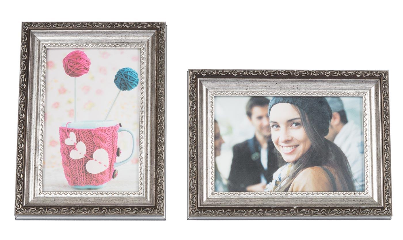 2er Set Bilderrahmen 10x15 Silber Barock Fotorahmen Antik Nostalgie ...