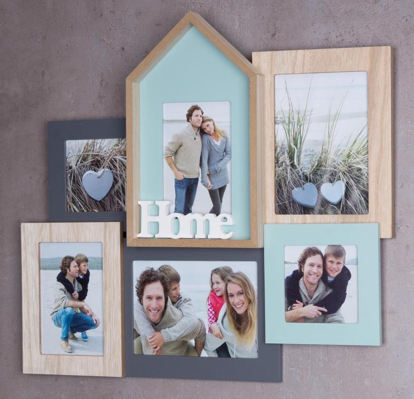 bilderrahmen 6 fotos 48x44 5x4cm holz natur home collage fotorahmen kaufen bei living by design. Black Bedroom Furniture Sets. Home Design Ideas