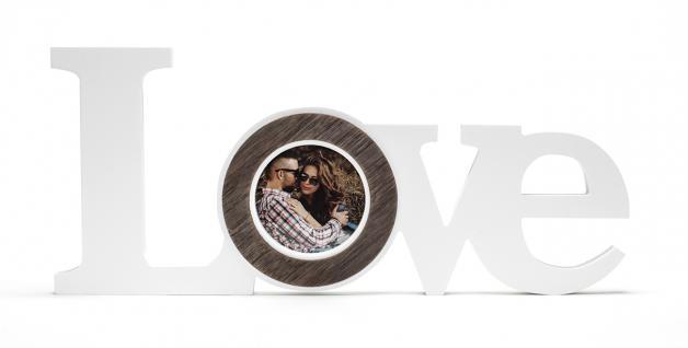Fotoaufsteller Schriftzug Love für 1 Foto aus Holz Liebe Bilderrahmen