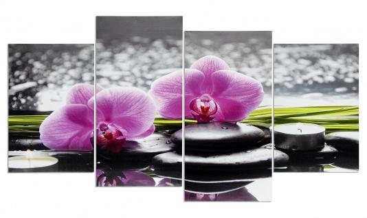 Wandbild 4 teilig Spa Wellness rosa Orchidee Steine Bild Leinwand