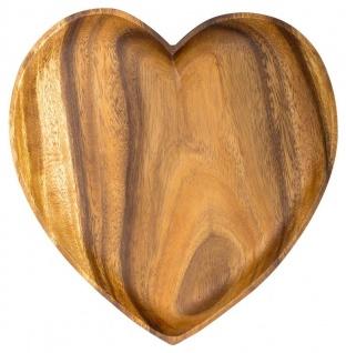 Holzschale Akazie 25cm Herz Teller Snackschale Schale Obstschale Dekoschale Holz