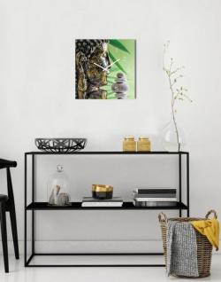 Wanduhr Glas 30x30cm Uhr Glasbild Buddha Kopf Steine Grün Wellness Wanddeko - Vorschau 3