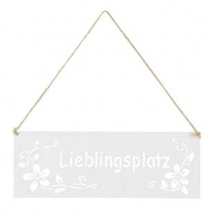Schild Lieblingsplatz 25x9cm Außen Garten-Deko Weiß Blumen Metall Türschild