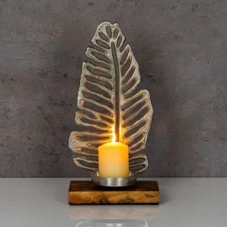 Kerzenständer 35cm Kerzenhalter Mango Holz Blatt Silber Tischdeko Kerzenleuchter - Vorschau 4