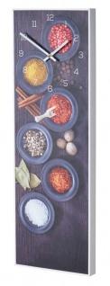 Wanduhr 20x60cm Uhr PVC Rahmen Weiß Gewürze Küche Wanddeko Wandbild Küchenbild