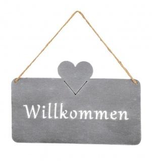 Schild Willkommen 25x16cm Außen Garten-Deko Grau Herz Eisen Türschild Wandbild