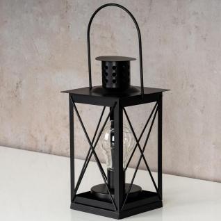 levandeo Tischlampe Metall Schwarz LED 12x23cm Lampe Laterne Standleuchte Retro - Vorschau 3