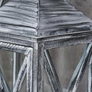 3er Set Laterne 70cm Hoch Grau Weiß Glas Holz Windlicht Shabby Chic Vintage - Vorschau 3