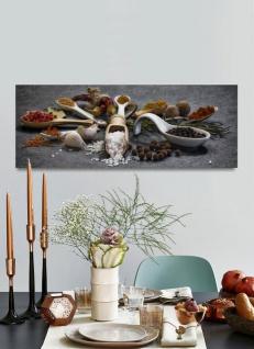 Wandbild 80x30cm Alu Dibond Gewürze Kräuter Küche Küchenbild Löffel Wanddeko - Vorschau 3