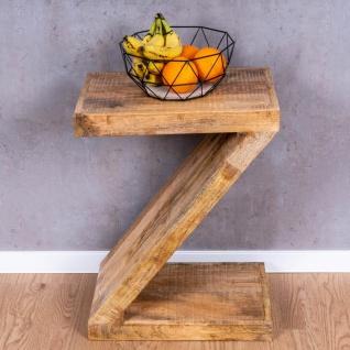 Beistelltisch Z Mango H60cm Holz Braun Natur Massiv Couchtisch Sofatisch Ablage - Vorschau 4