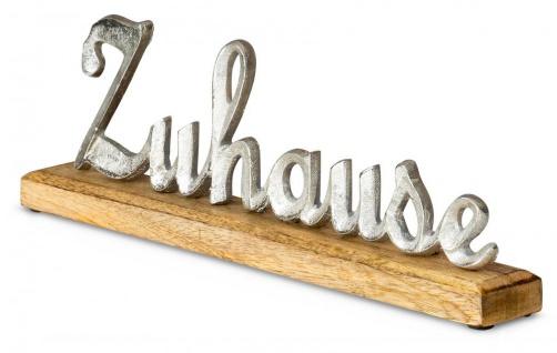 Schriftzug Zuhause L40, 5cm Metall Silber Mango Holz Tischdeko Deko Aufsteller