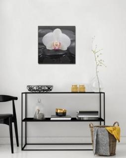 levandeo Glasbild 2er Set je 30x30cm Wandbild Glas Orchideen Blume Steine - Vorschau 4