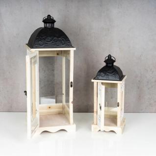 2er Set Laterne 71cm Hoch Braun Weiß Ornamente Holz Windlicht Gartenlaterne - Vorschau 5