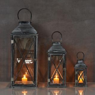 3er Set Laterne 70cm Hoch Grau Weiß Glas Holz Windlicht Shabby Chic Vintage - Vorschau 4