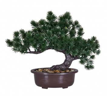 Kunstpflanze Bonsai 25x24cm Grün Braun Kunstblume Dekopflanze Tischdeko Blume