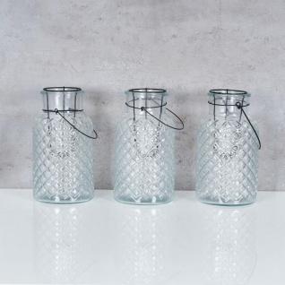 3er Set Windlicht H26cm Glas Laterne Weiß Gartenleuchte Kerzenhalter Garten Deko - Vorschau 2