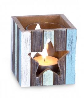 Windlicht 7, 5 x 8 cm Teelichthalter Holz Blau Weiß Stern Maritim Glas Deko Kerze