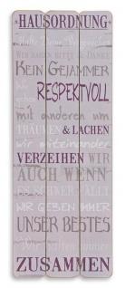 Holz-Schild Hausordnung Wandbild Schild Wandobjekt Dekoration Familie