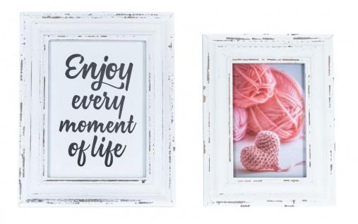 2er Set Bilderrahmen Weiß gewischt Holz 10x15 13x18 Einzelrahmen Shabby Chic Vintage