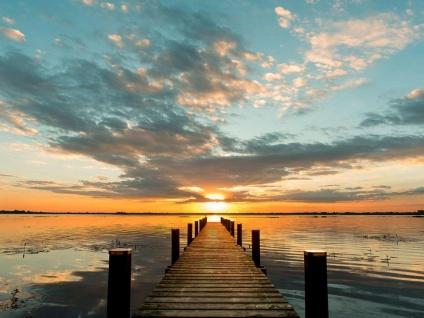 Leinwandbild 80x60cm Sonnenuntergang Meer Echtholz Keilrahmen Wanddeko Wandbild