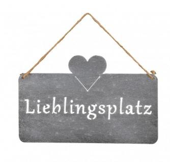 Schild Lieblingsplatz 25x16cm Herz Garten-Deko Türschild Wandbild Beton