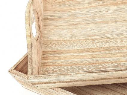2tlg Dekotablett Set Holz Tablett Do What You Love Servierbrett Natur - Vorschau 2