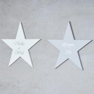 Holzschild 2er Set Sterne Grau Weiß 30x30cm Sprüche Holzbild Wandobjekt Deko - Vorschau 2