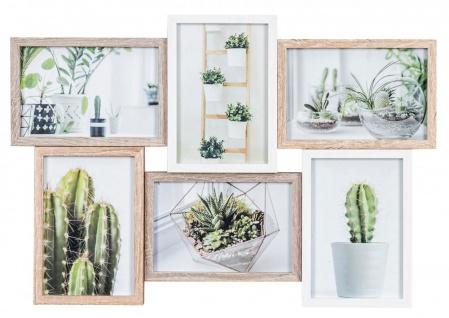 Bilderrahmen Collage B x H 44x30cm 6 Fotos 10x15cm Natur Eiche Holz Glas Galerie