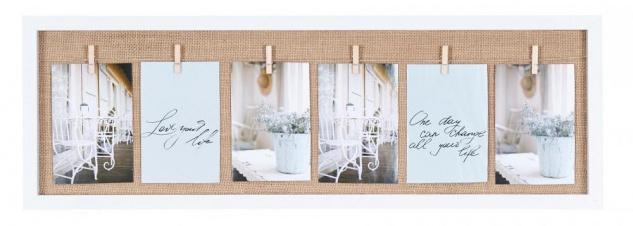 Bilderrahmen 6 Fotos Klammern Holz Weiß Fotorahmen Fotogalerie Collage