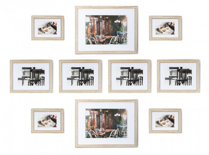 levandeo 10er Set Bilderrahmen 9x13cm, 13x18cm, 20x30cm Eiche gekälkt Holz MDF