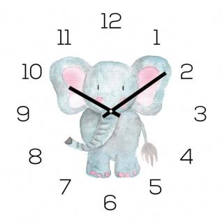 Wanduhr Zootiere 30x30cm Elefant Glas Kinder Uhr Glasbild Tiermotiv Wanddeko
