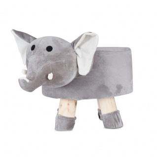 Hocker Elefant H25cm Grau Plüsch Polsterhocker Kinderzimmer Tierhocker Stuhl