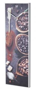 Wanduhr 20x60cm Braun Kaffee Coffee Rahmen Weiß Küche Bild Cafe Wanddeko Uhr