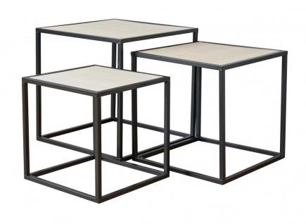 3er Set Beistelltisch Metall Schwarz Holz Cube quadratisch Couchtisch Deko Tisch