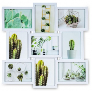 Bilderrahmen 51, 5x51, 5cm Weiß 9 Fotos 13x18 Fotorahmen Collage Galerie