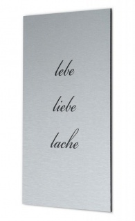 levandeo Wandbild Bild Schild Lebe Liebe Lache 20x30cm Alu Aluminium gebürstet