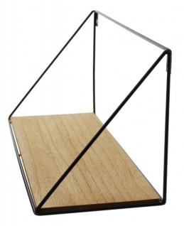 Wandregal Regal 39x15cm Schwarz Metall MDF Holz Natur Design Modern Industrie - Vorschau 3