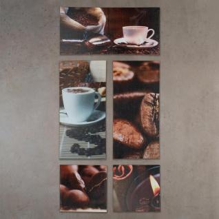 Wandbild 5er Set 86x42cm Leinwand Kaffee Cappuccino Küche Deko Bild - Vorschau 2