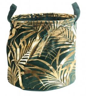 Aufbewahrungskorb 30x30cm Grün Gold Samt Palmenblätter Regalkorb Rund Deko