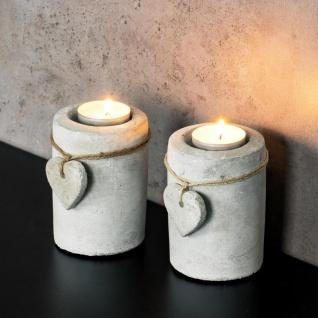 2er Set Teelichthalter Beton je 10cm hoch Kerzenhalter Kerzenständer Tischdeko - Vorschau 5
