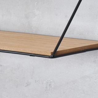 2er Set Wandregal Regal 39x17cm Metall Schwarz Holz MDF Natur Modern Industrie - Vorschau 5